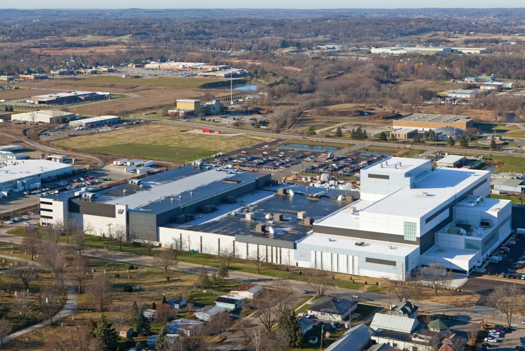 Skyview of SPX Transformers building