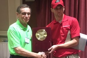 "Bill receiving his first place award from Charles ""Buster"" Dawson, Eastern Carolina Safety Council Chairman"
